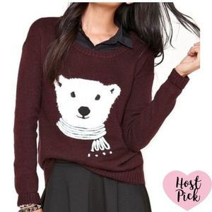 Black Poppy Fuzzy Polar Bear Sweater MED